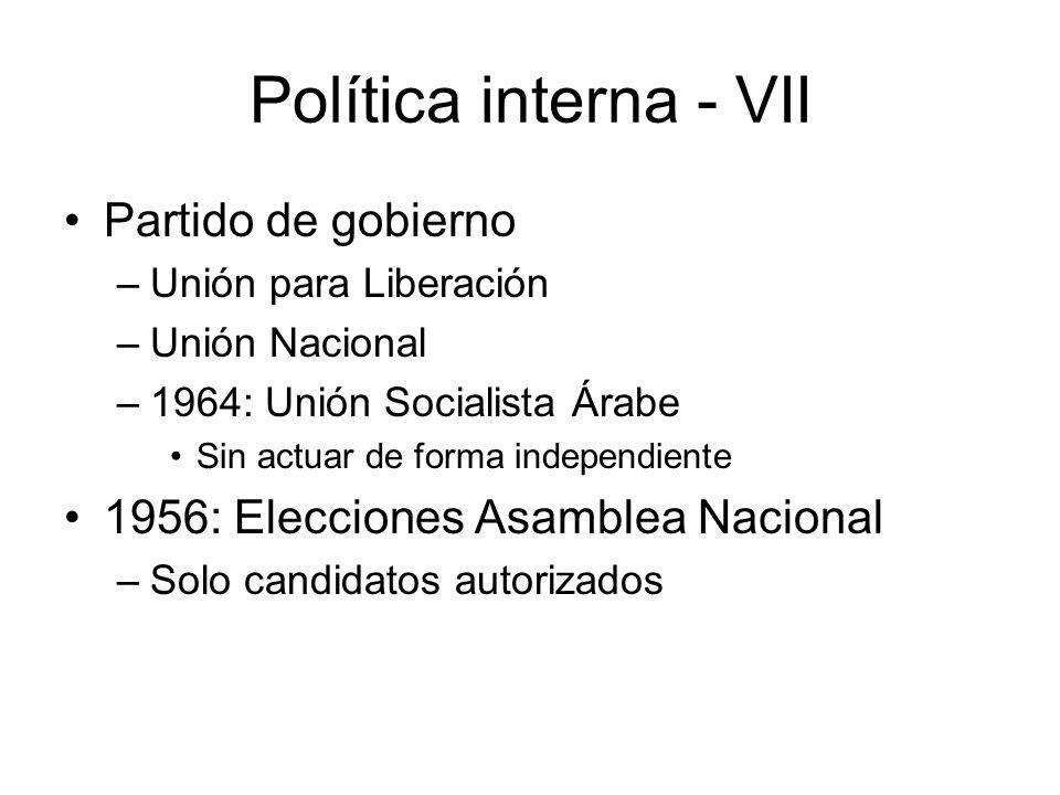 Política interna - VII Partido de gobierno –Unión para Liberación –Unión Nacional –1964: Unión Socialista Árabe Sin actuar de forma independiente 1956