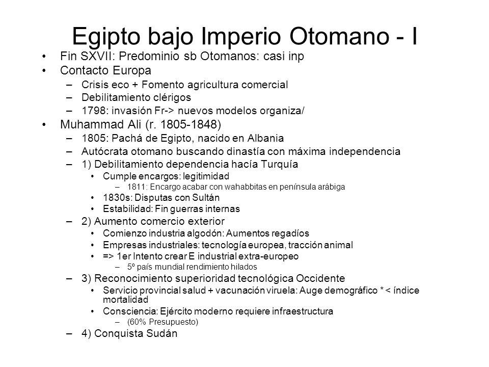 Ismail el Magnífico (1863-79) -II Turquía concede sucesión dinástica-> jedive –Dinastía Muhammad Ali (1805-1922) Continuidad, en peores condiciones 1) Esfuerzos de modernización ofrece cara negativa –1750 Km FFCC / Cosecha algodón * 10 (import.