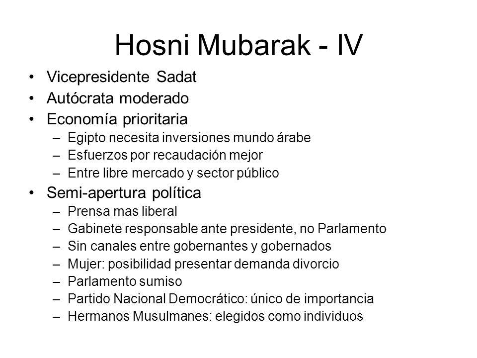 Hosni Mubarak - IV Vicepresidente Sadat Autócrata moderado Economía prioritaria –Egipto necesita inversiones mundo árabe –Esfuerzos por recaudación me