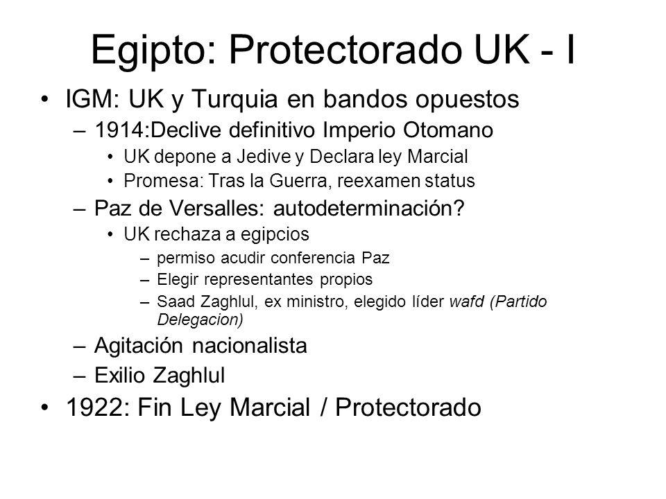 Egipto: Protectorado UK - I IGM: UK y Turquia en bandos opuestos –1914:Declive definitivo Imperio Otomano UK depone a Jedive y Declara ley Marcial Pro
