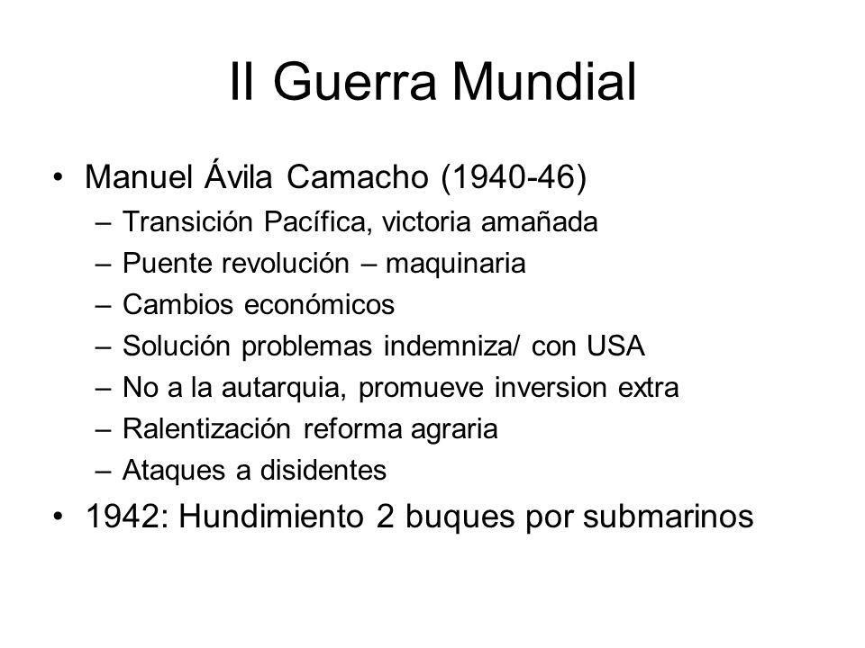 II Guerra Mundial Manuel Ávila Camacho (1940-46) –Transición Pacífica, victoria amañada –Puente revolución – maquinaria –Cambios económicos –Solución