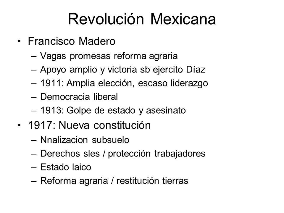 Revolución Mexicana Francisco Madero –Vagas promesas reforma agraria –Apoyo amplio y victoria sb ejercito Díaz –1911: Amplia elección, escaso liderazg