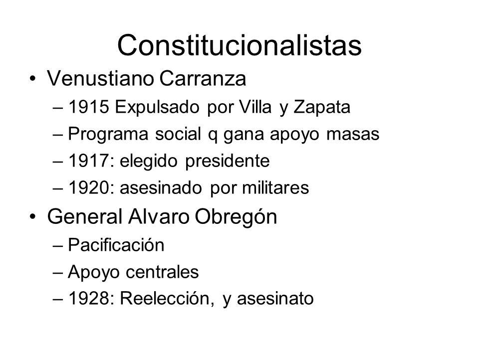 Constitucionalistas Venustiano Carranza –1915 Expulsado por Villa y Zapata –Programa social q gana apoyo masas –1917: elegido presidente –1920: asesin