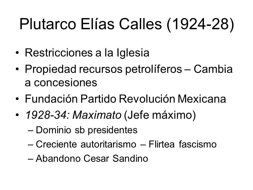 Plutarco Elías Calles (1924-28) Restricciones a la Iglesia Propiedad recursos petrolíferos – Cambia a concesiones Fundación Partido Revolución Mexican