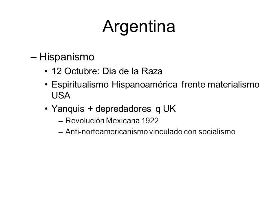 Argentina –Hispanismo 12 Octubre: Dia de la Raza Espiritualismo Hispanoamérica frente materialismo USA Yanquis + depredadores q UK –Revolución Mexican