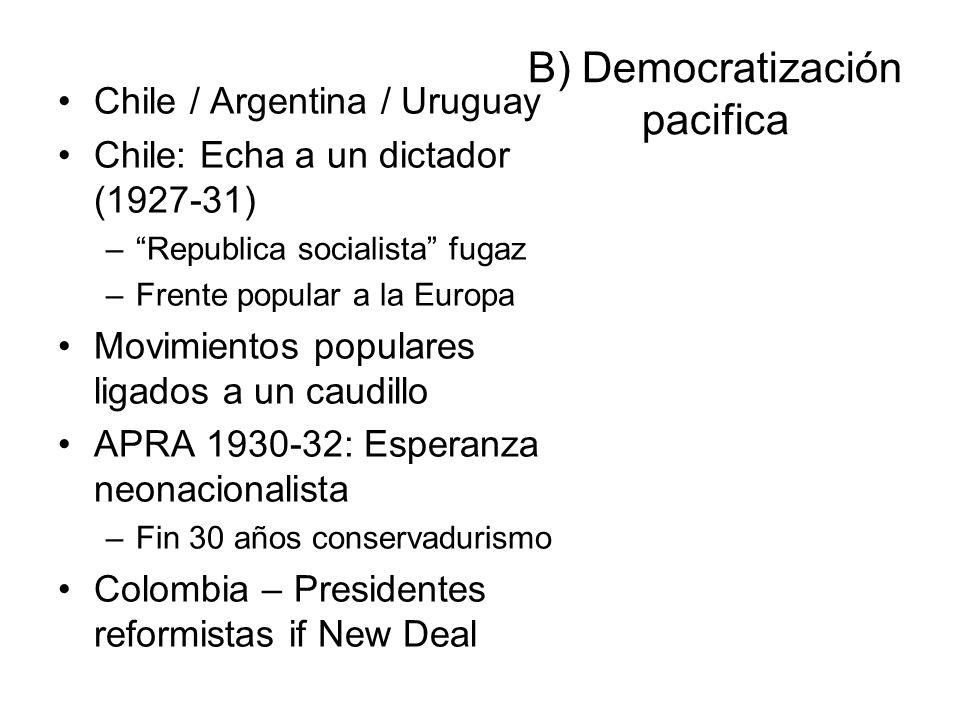 B) Democratización pacifica Chile / Argentina / Uruguay Chile: Echa a un dictador (1927-31) –Republica socialista fugaz –Frente popular a la Europa Mo
