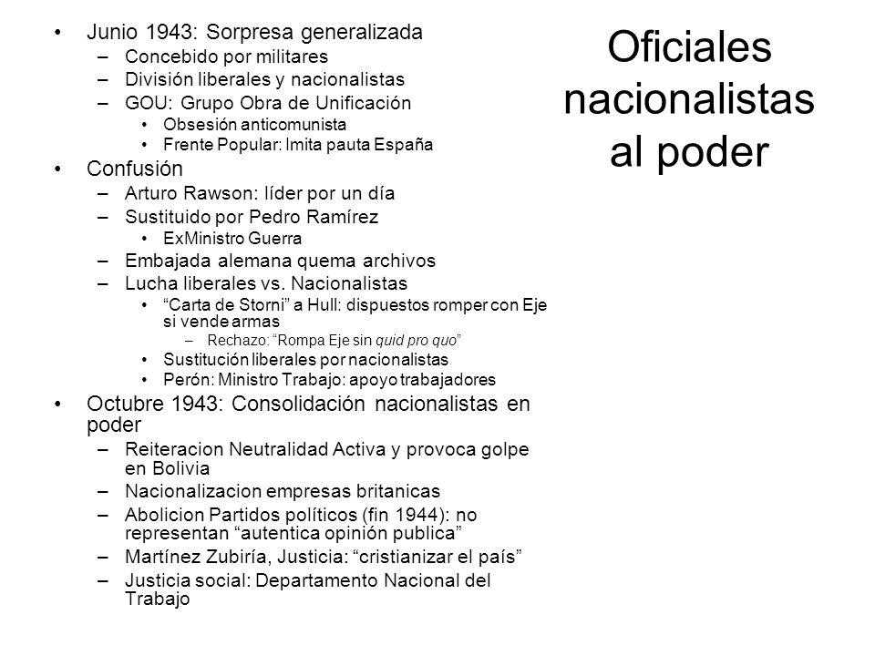 Oficiales nacionalistas al poder Junio 1943: Sorpresa generalizada –Concebido por militares –División liberales y nacionalistas –GOU: Grupo Obra de Un