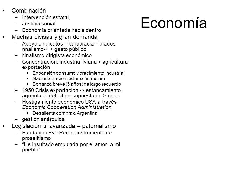 Economía Combinación –Intervención estatal, –Justicia social –Economía orientada hacia dentro Muchas divisas y gran demanda –Apoyo sindicatos – burocr