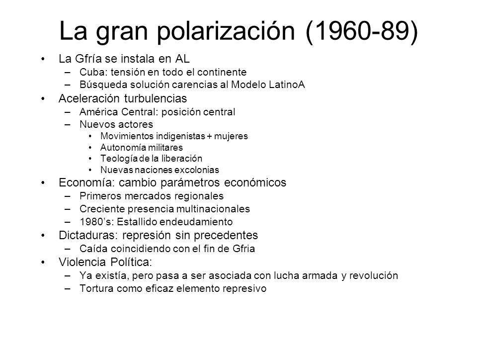 La gran polarización (1960-89) La Gfría se instala en AL –Cuba: tensión en todo el continente –Búsqueda solución carencias al Modelo LatinoA Aceleraci
