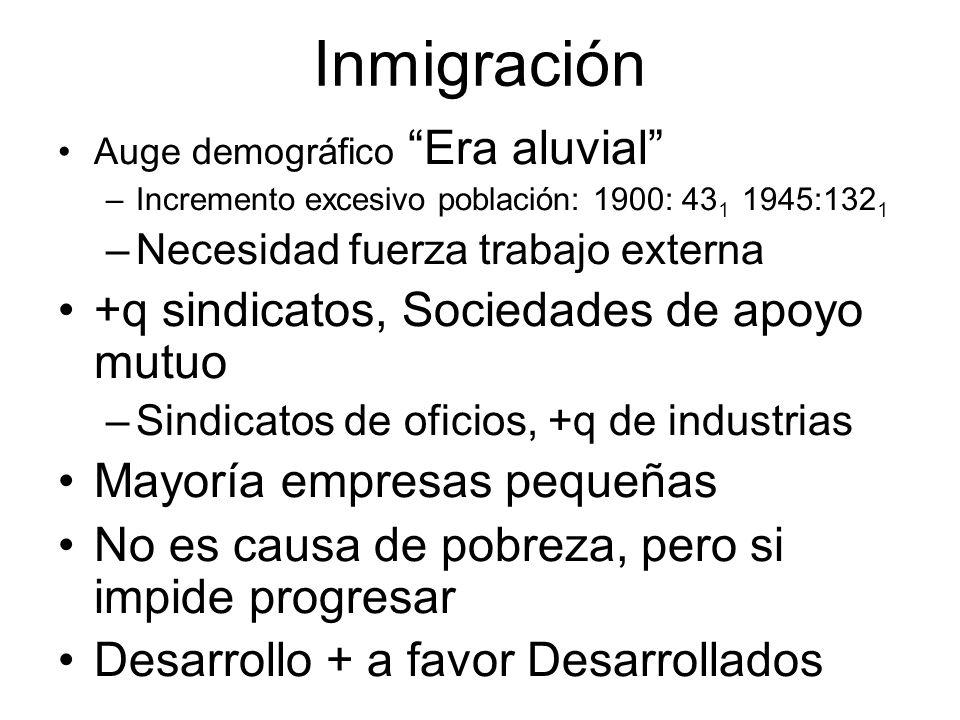 Inmigración Auge demográfico Era aluvial –Incremento excesivo población: 1900: 43 1 1945:132 1 –Necesidad fuerza trabajo externa +q sindicatos, Socied