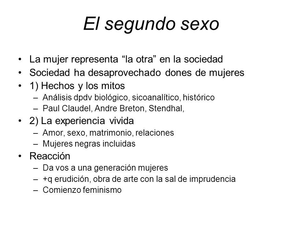 El segundo sexo La mujer representa la otra en la sociedad Sociedad ha desaprovechado dones de mujeres 1) Hechos y los mitos –Análisis dpdv biológico,