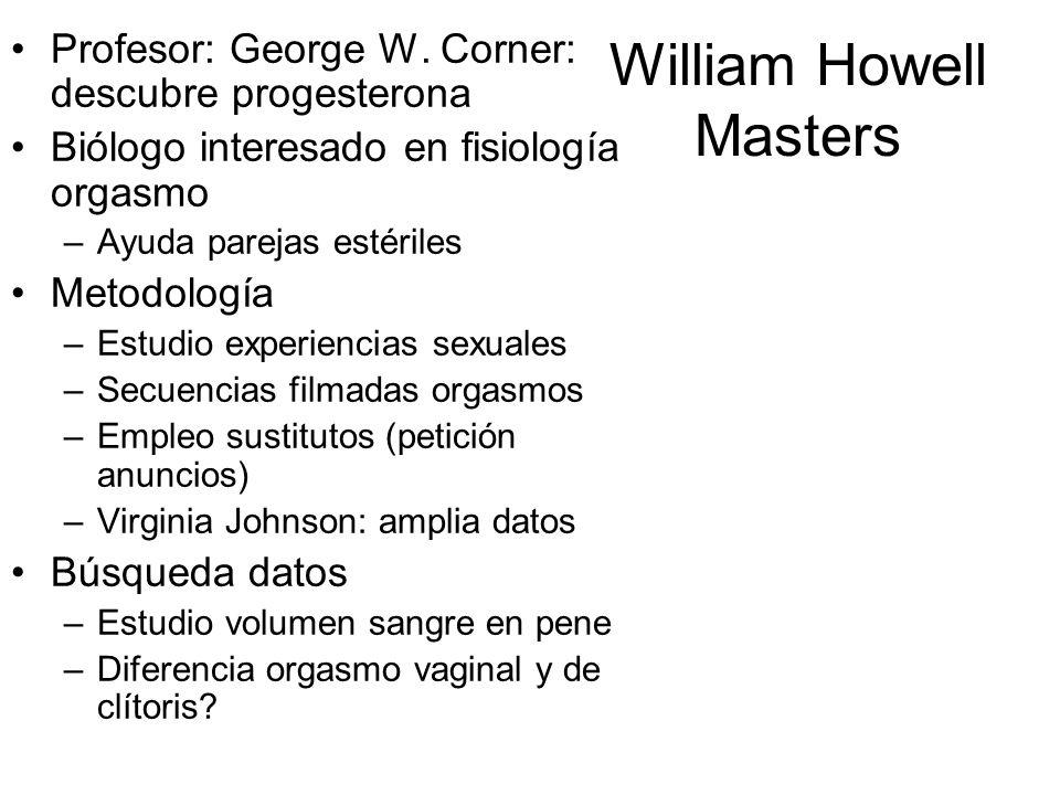 William Howell Masters Profesor: George W. Corner: descubre progesterona Biólogo interesado en fisiología orgasmo –Ayuda parejas estériles Metodología