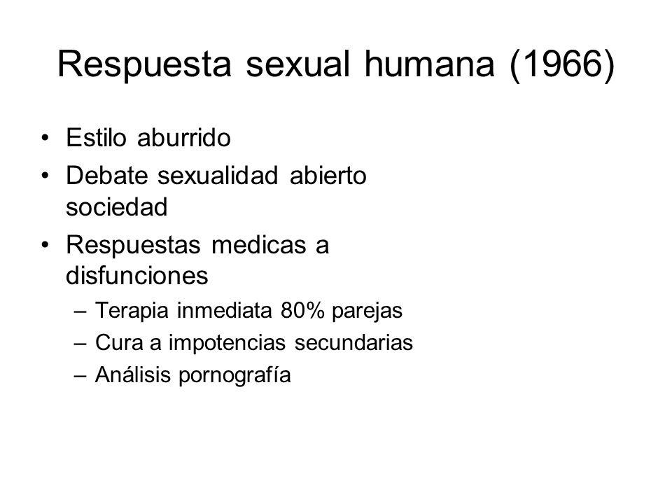 Respuesta sexual humana (1966) Estilo aburrido Debate sexualidad abierto sociedad Respuestas medicas a disfunciones –Terapia inmediata 80% parejas –Cu