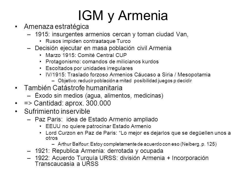 IGM y Armenia Amenaza estratégica –1915: insurgentes armenios cercan y toman ciudad Van, Rusos impiden contraataque Turco –Decisión ejecutar en masa p