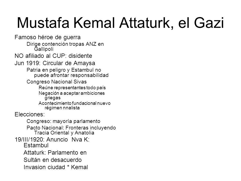 Mustafa Kemal Attaturk, el Gazi Famoso héroe de guerra Dirige contención tropas ANZ en Gallipoli NO afiliado al CUP: disidente Jun 1919: Circular de A