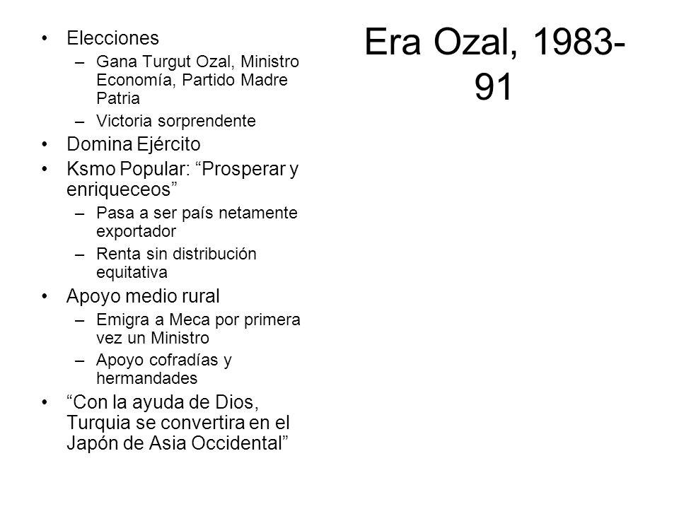 Era Ozal, 1983- 91 Elecciones –Gana Turgut Ozal, Ministro Economía, Partido Madre Patria –Victoria sorprendente Domina Ejército Ksmo Popular: Prospera