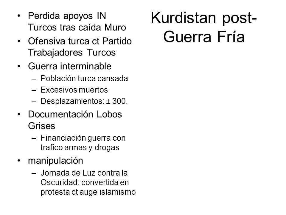 Kurdistan post- Guerra Fría Perdida apoyos IN Turcos tras caída Muro Ofensiva turca ct Partido Trabajadores Turcos Guerra interminable –Población turca cansada –Excesivos muertos –Desplazamientos: ± 300.