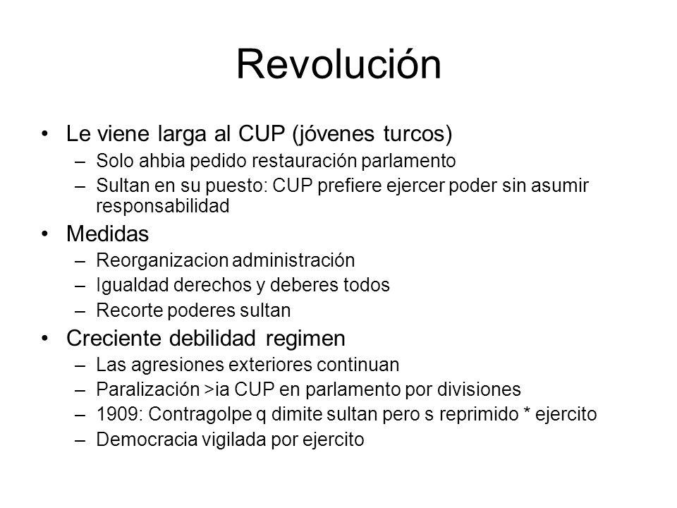 Revolución Le viene larga al CUP (jóvenes turcos) –Solo ahbia pedido restauración parlamento –Sultan en su puesto: CUP prefiere ejercer poder sin asum