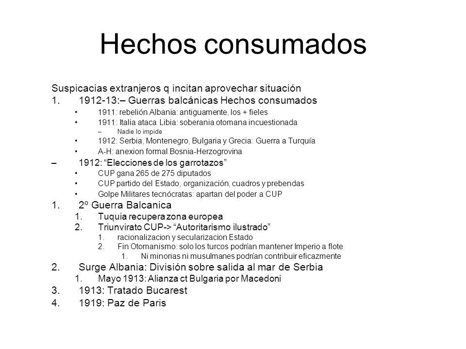 Hechos consumados Suspicacias extranjeros q incitan aprovechar situación 1.1912-13:– Guerras balcánicas Hechos consumados 1911: rebelión Albania: anti