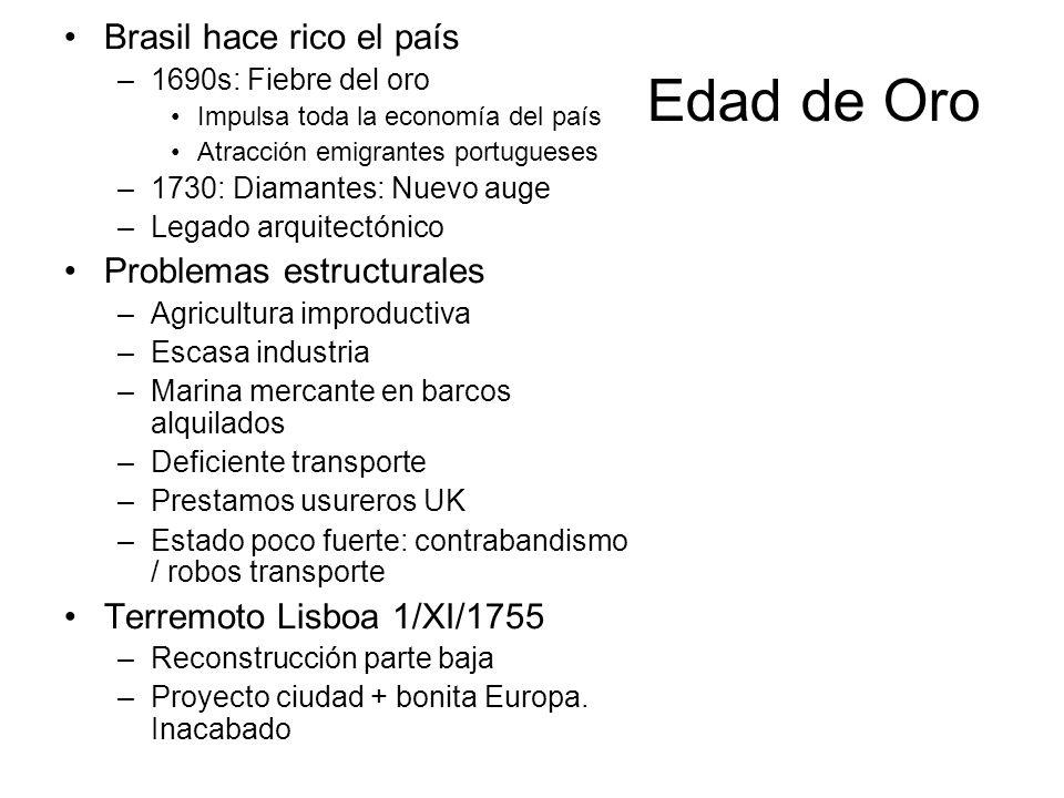 Edad de Oro Brasil hace rico el país –1690s: Fiebre del oro Impulsa toda la economía del país Atracción emigrantes portugueses –1730: Diamantes: Nuevo