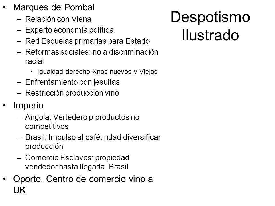 Despotismo Ilustrado Marques de Pombal –Relación con Viena –Experto economía política –Red Escuelas primarias para Estado –Reformas sociales: no a dis