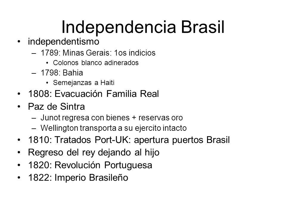 Independencia Brasil independentismo –1789: Minas Gerais: 1os indicios Colonos blanco adinerados –1798: Bahia Semejanzas a Haiti 1808: Evacuación Fami