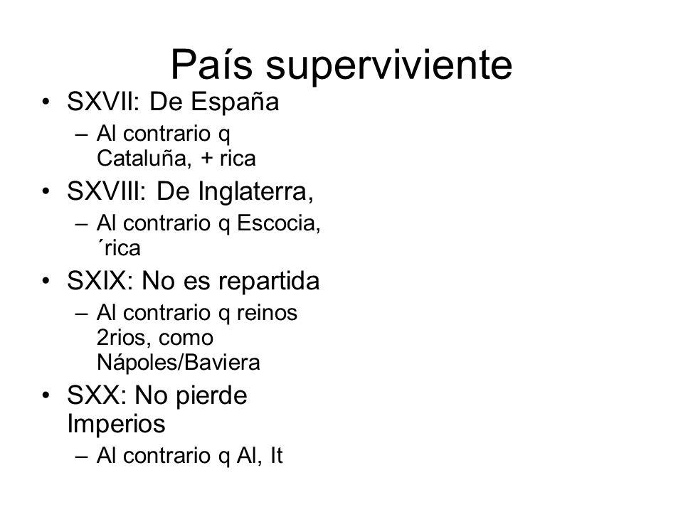 País superviviente SXVII: De España –Al contrario q Cataluña, + rica SXVIII: De Inglaterra, –Al contrario q Escocia, ´rica SXIX: No es repartida –Al c