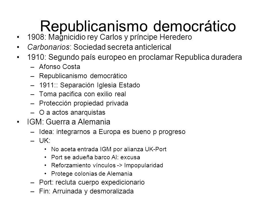 Republicanismo democrático 1908: Magnicidio rey Carlos y príncipe Heredero Carbonarios: Sociedad secreta anticlerical 1910: Segundo país europeo en pr