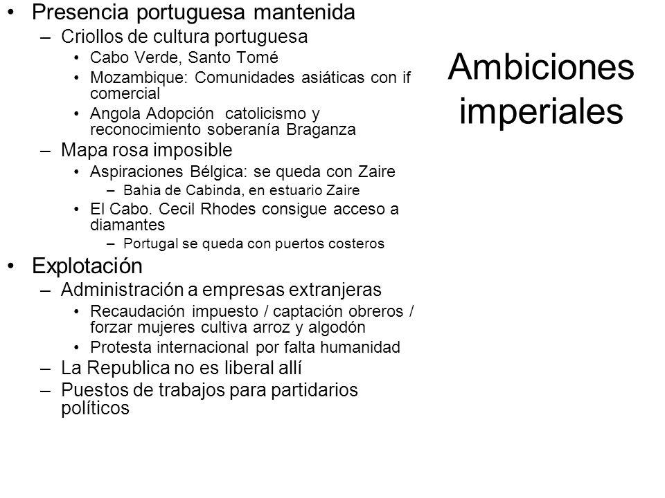 Ambiciones imperiales Presencia portuguesa mantenida –Criollos de cultura portuguesa Cabo Verde, Santo Tomé Mozambique: Comunidades asiáticas con if c