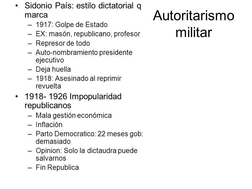 Autoritarismo militar Sidonio País: estilo dictatorial q marca –1917: Golpe de Estado –EX: masón, republicano, profesor –Represor de todo –Auto-nombra
