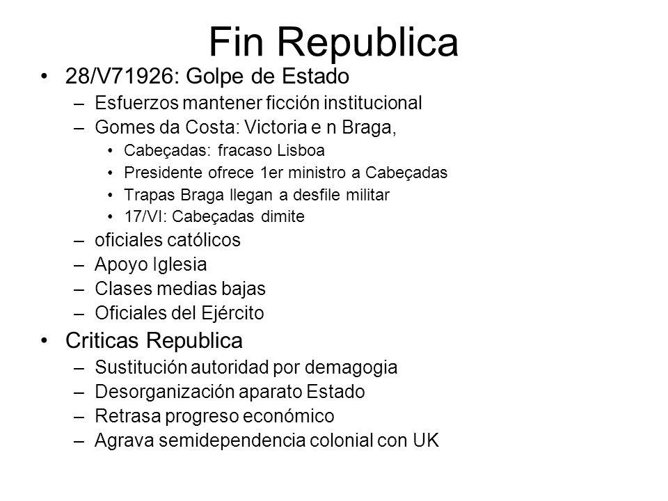 Fin Republica 28/V71926: Golpe de Estado –Esfuerzos mantener ficción institucional –Gomes da Costa: Victoria e n Braga, Cabeçadas: fracaso Lisboa Pres