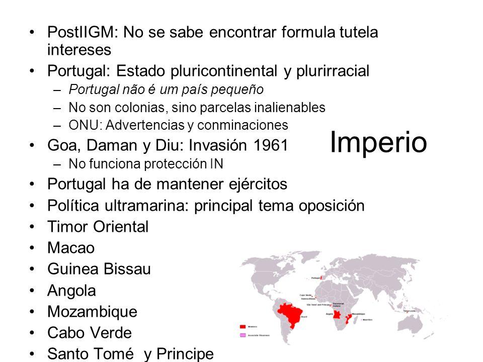 Imperio PostIIGM: No se sabe encontrar formula tutela intereses Portugal: Estado pluricontinental y plurirracial –Portugal não é um país pequeño –No s
