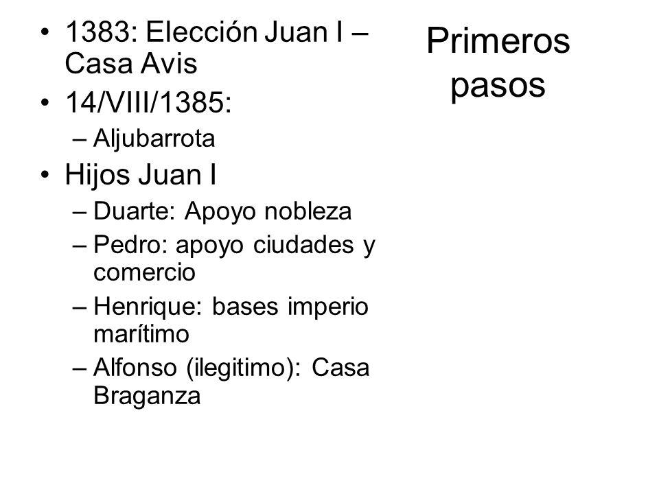 Primeros pasos 1383: Elección Juan I – Casa Avis 14/VIII/1385: –Aljubarrota Hijos Juan I –Duarte: Apoyo nobleza –Pedro: apoyo ciudades y comercio –Hen