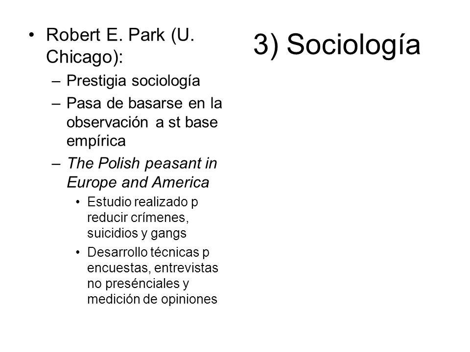 3) Sociología Robert E. Park (U. Chicago): –Prestigia sociología –Pasa de basarse en la observación a st base empírica –The Polish peasant in Europe a