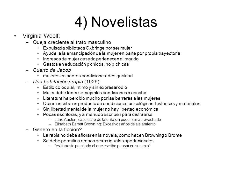 4) Novelistas Virginia Woolf: –Queja creciente al trato masculino Expulsada biblioteca Oxbridge por ser mujer Ayuda a la emancipación de la mujer en p