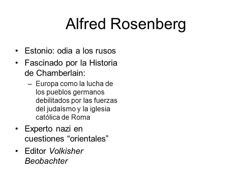Alfred Rosenberg Estonio: odia a los rusos Fascinado por la Historia de Chamberlain: –Europa como la lucha de los pueblos germanos debilitados por las
