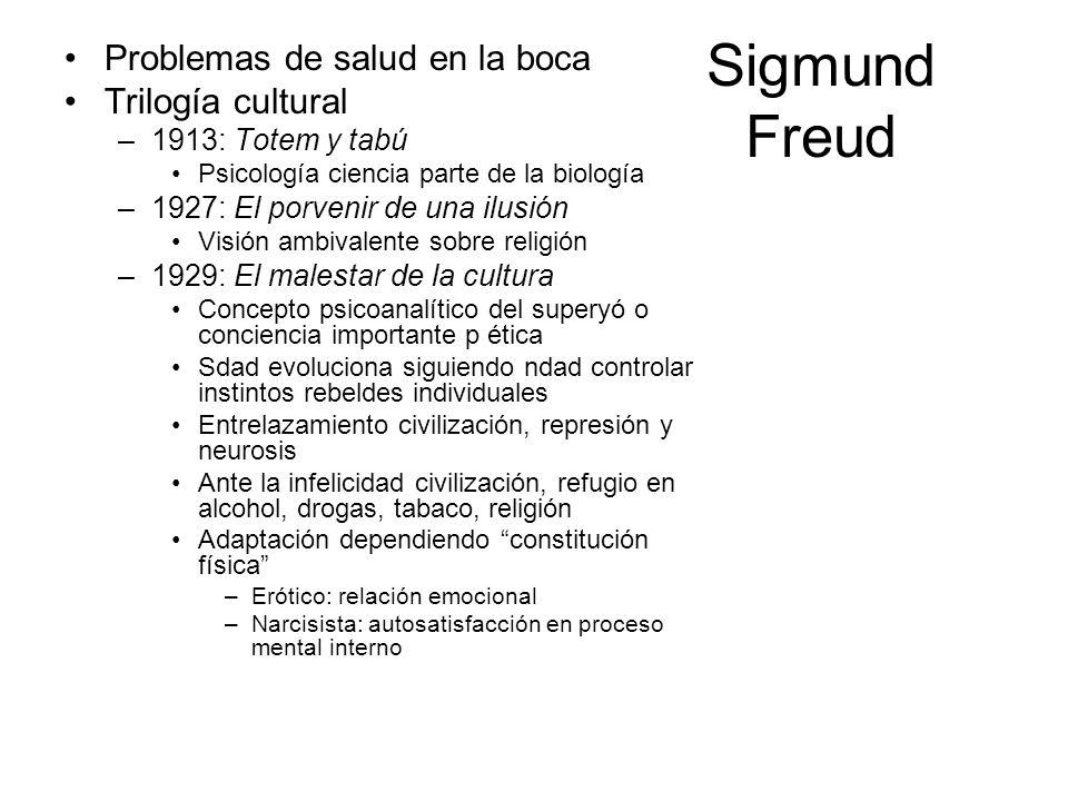 Sigmund Freud Problemas de salud en la boca Trilogía cultural –1913: Totem y tabú Psicología ciencia parte de la biología –1927: El porvenir de una il