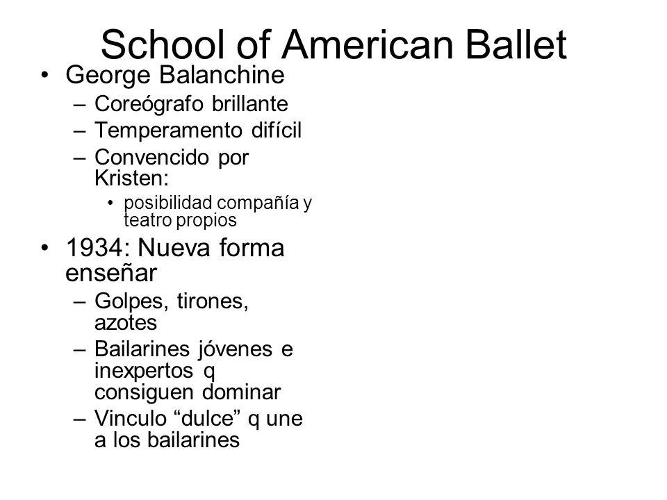 School of American Ballet George Balanchine –Coreógrafo brillante –Temperamento difícil –Convencido por Kristen: posibilidad compañía y teatro propios