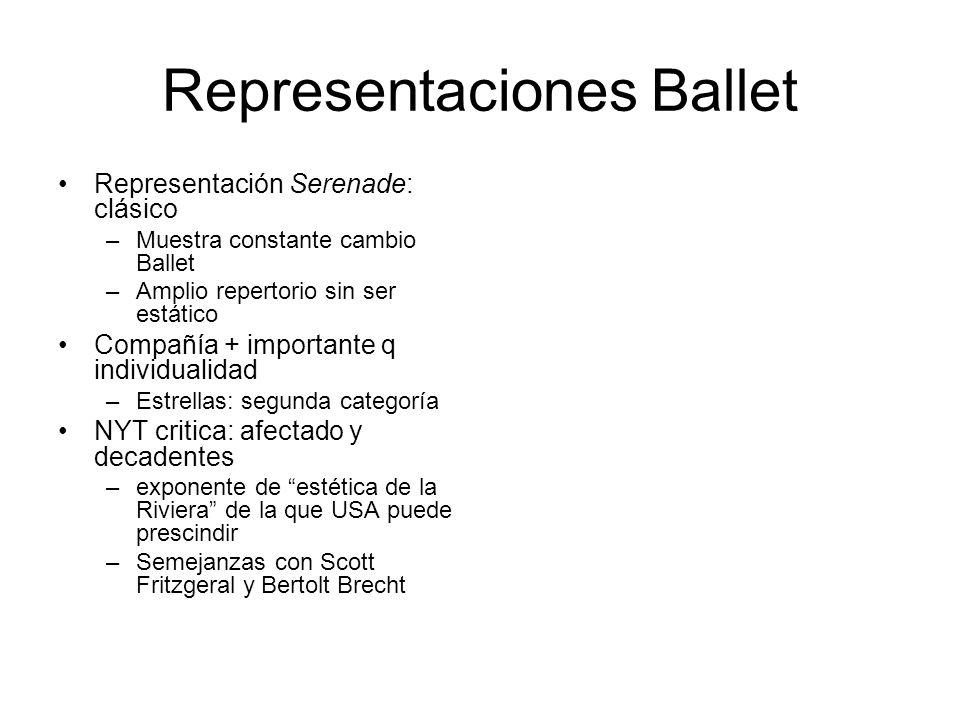 Representaciones Ballet Representación Serenade: clásico –Muestra constante cambio Ballet –Amplio repertorio sin ser estático Compañía + importante q