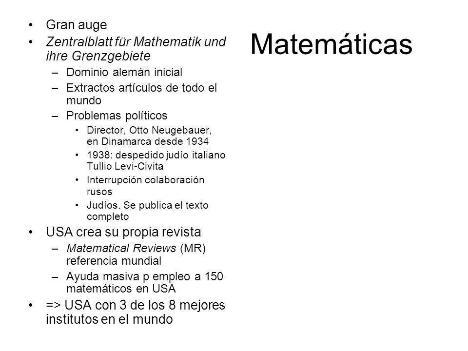 Matemáticas Gran auge Zentralblatt für Mathematik und ihre Grenzgebiete –Dominio alemán inicial –Extractos artículos de todo el mundo –Problemas polít