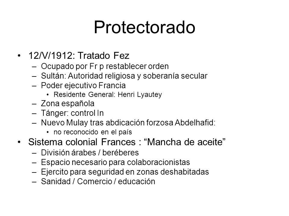 Protectorado 12/V/1912: Tratado Fez –Ocupado por Fr p restablecer orden –Sultán: Autoridad religiosa y soberanía secular –Poder ejecutivo Francia Resi