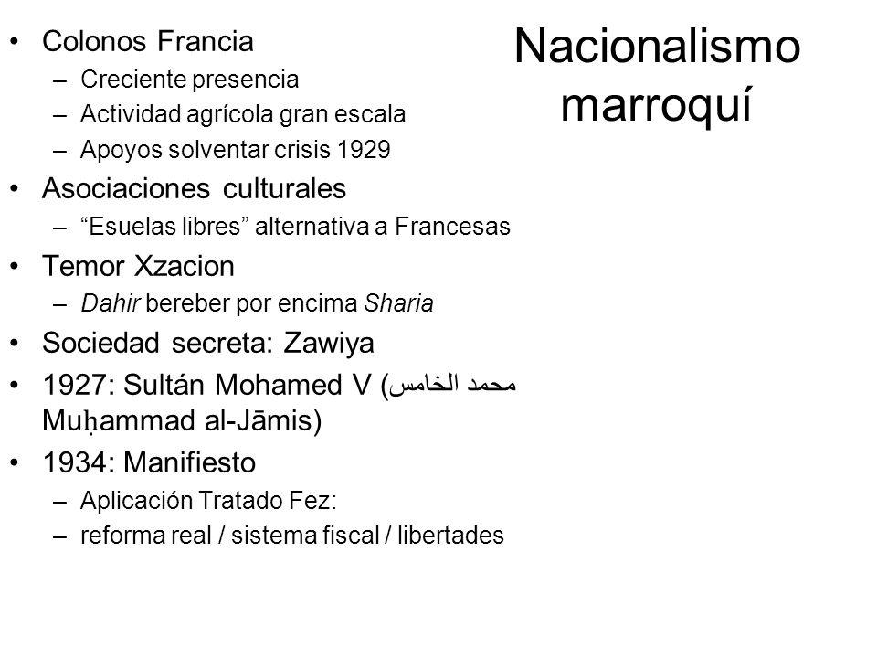 Nacionalismo marroquí Colonos Francia –Creciente presencia –Actividad agrícola gran escala –Apoyos solventar crisis 1929 Asociaciones culturales –Esue