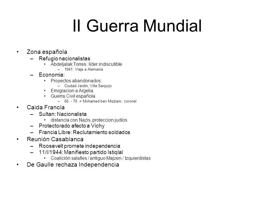 II Guerra Mundial Zona española –Refugio nacionalistas Abdeljalak Torres: líder indiscutible –1941: Viaje a Alemania –Economia: Proyectos abandonados: