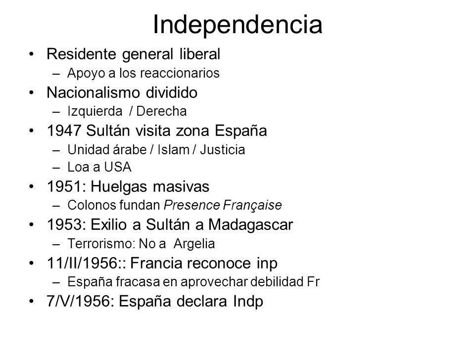 Independencia Residente general liberal –Apoyo a los reaccionarios Nacionalismo dividido –Izquierda / Derecha 1947 Sultán visita zona España –Unidad á