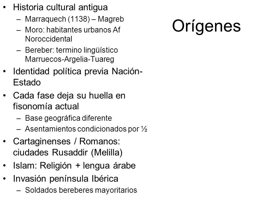 Orígenes Historia cultural antigua –Marraquech (1138) – Magreb –Moro: habitantes urbanos Af Noroccidental –Bereber: termino lingüístico Marruecos-Arge