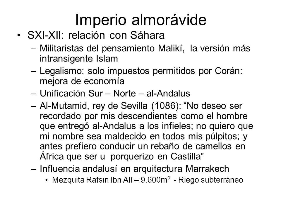 Imperio almorávide SXI-XII: relación con Sáhara –Militaristas del pensamiento Malikí, la versión más intransigente Islam –Legalismo: solo impuestos pe