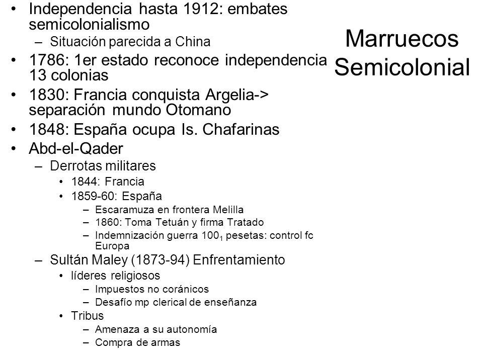 Marruecos Semicolonial Independencia hasta 1912: embates semicolonialismo –Situación parecida a China 1786: 1er estado reconoce independencia 13 colon
