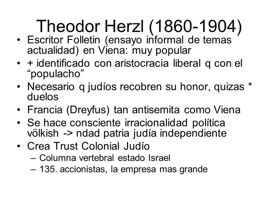 Theodor Herzl (1860-1904) Escritor Folletin (ensayo informal de temas actualidad) en Viena: muy popular + identificado con aristocracia liberal q con