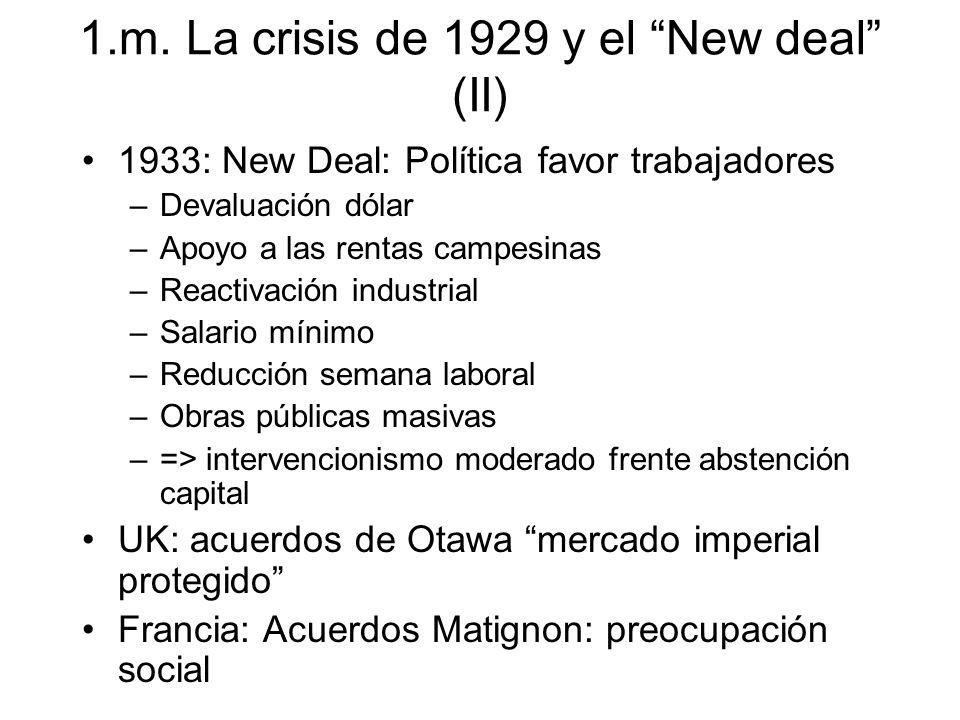 1.m. La crisis de 1929 y el New deal (II) 1933: New Deal: Política favor trabajadores –Devaluación dólar –Apoyo a las rentas campesinas –Reactivación