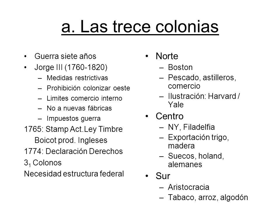 a. Las trece colonias Guerra siete años Jorge III (1760-1820) –Medidas restrictivas –Prohibición colonizar oeste –Limites comercio interno –No a nueva